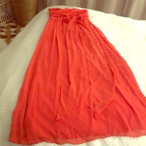 Dresses & Skirts - Strapless Coral Color Bridesmaid Dress size 4